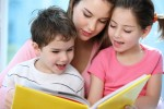 Nanny reading to kids